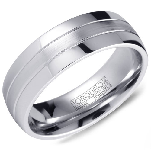 7mm Cobalt Wedding Band, Brushed Center and Polished Edges