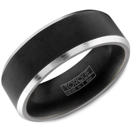 7mm Black & White Cobalt Brushed Wedding Band