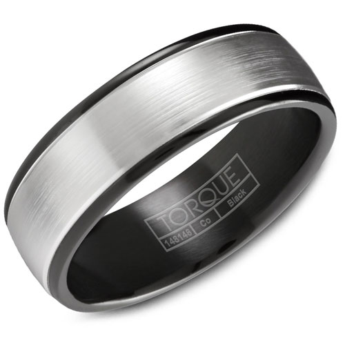 7mm White & Black Cobalt Wedding Band