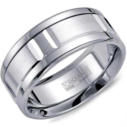 9mm White Cobalt Wedding Band, Brushed Center and Polished Edges