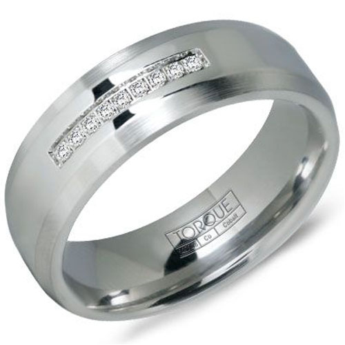 7mm White Cobalt Wedding Band, 1/20ct tw in Diamonds