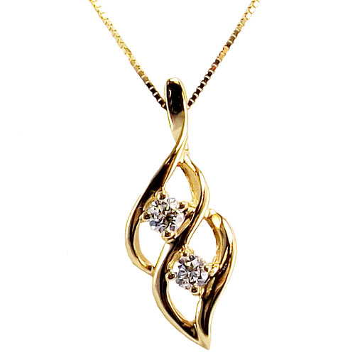 "14K Yellow Gold 2 of Us Diamond Pendant with 18""Chain"