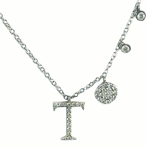 "14K White Gold 1/4ctw Letter ""T"" and Diamond Disk Scatter 18"" Necklace"