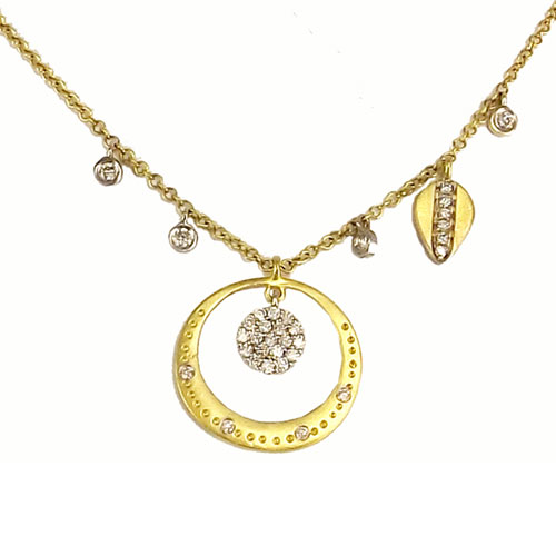 "14K Yellow and White Gold 1/4 ct tw Diamond Multi Shape Scatter 18"" Necklace"