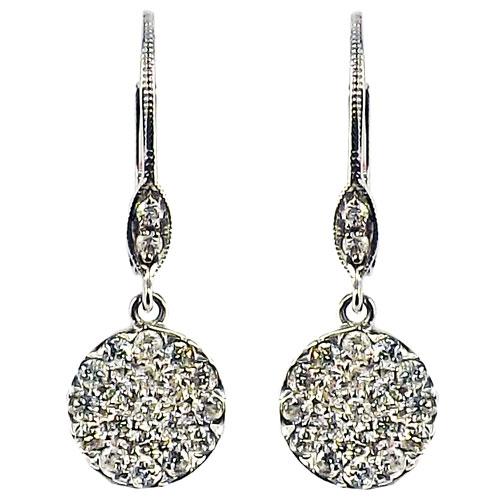14K White Gold Diamond Dangle Earrings 1/2 ct tw