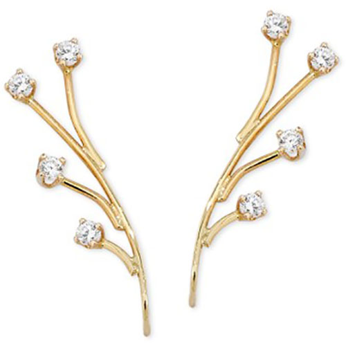 14 karat yellow gold ear climber earrings
