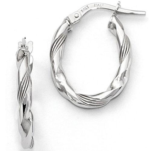 14K White Gold Twisted Hoop Earrings