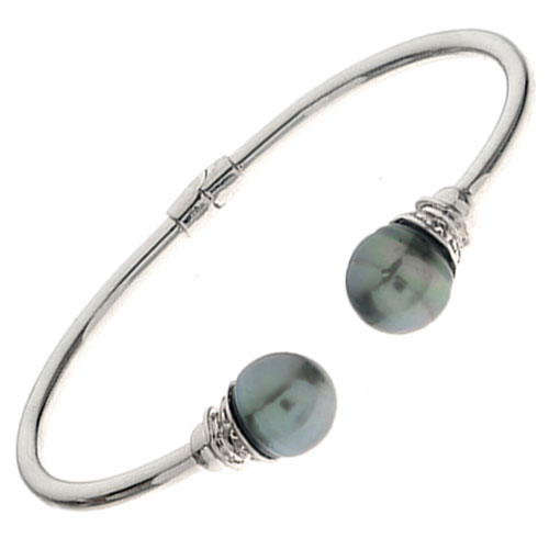 Sterling Silver Dyed Black Freshwater Pearl Cuff Bracelet
