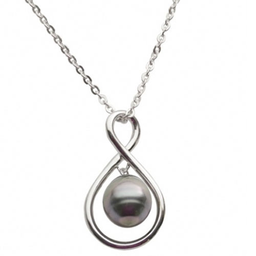 "Sterling Silver Black Tahitian Pearl Pendant. 18"" Chain Included."