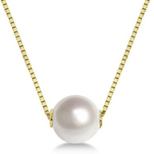 """14K Yellow Gold Akoya Pearl Pendant with 18"""" Chain"""