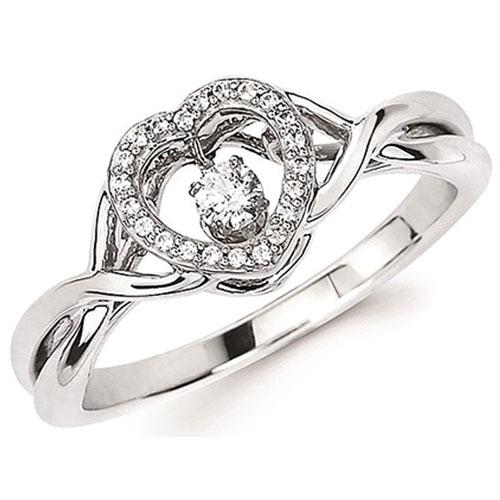Sterling Silver Rhythm of Love 1/7 ct tw Diamond Ring