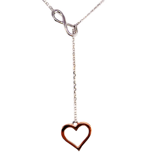 "Sterling Silver ""Y"" Necklace with Rose Plated Heart 18"""