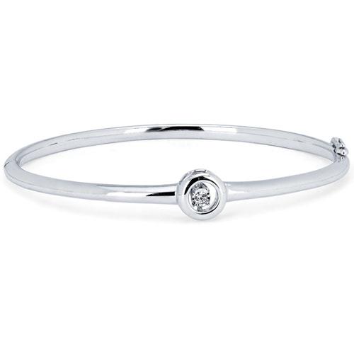 Sterling Silver Rhythm of Love .05ct Diamond Bangle Bracelet