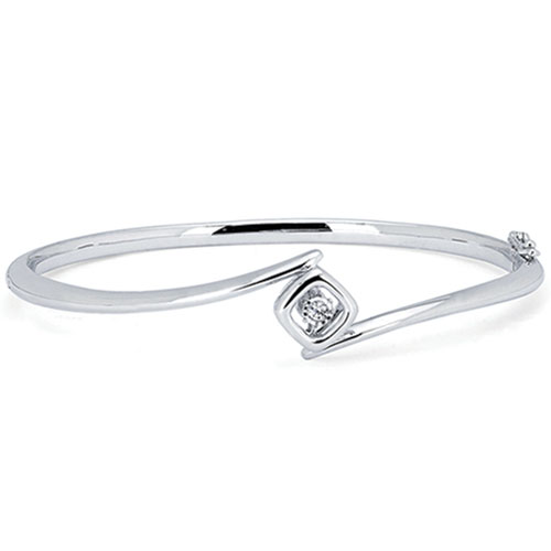 Sterling Silver Rhythm of Love .05ct Diamond Bangle Bracelet