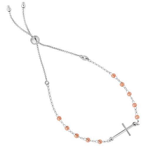 Rose Plated & Sterling Silver Adjustable Bracelet