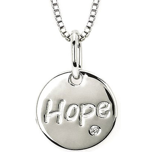 "Sterling Silver Diamond Hope Pendant 18"" with Chain"
