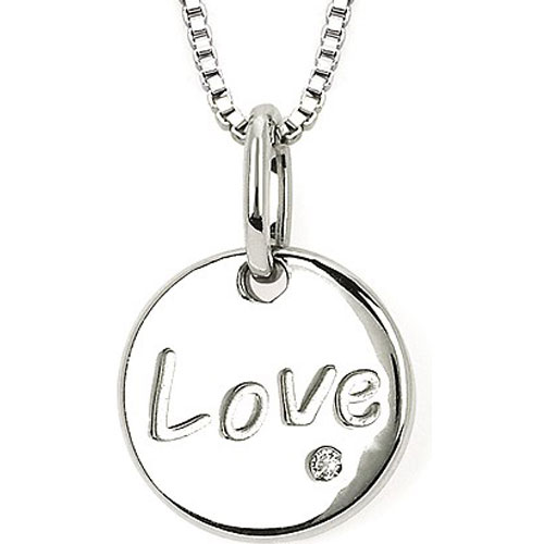 Sterling Silver .01 ct Diamond Love Pendant with 18""