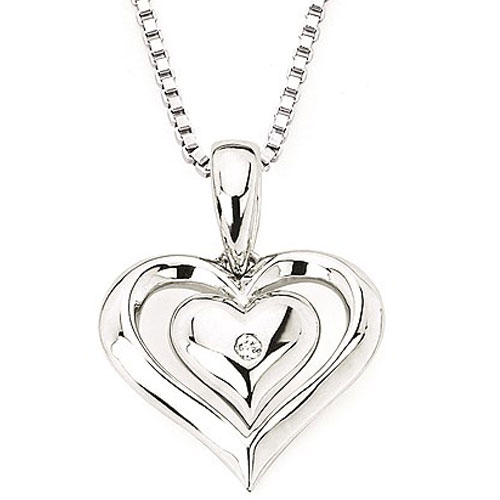 "Sterling Silver Diamond Heart Pendant with 18"" Chain"