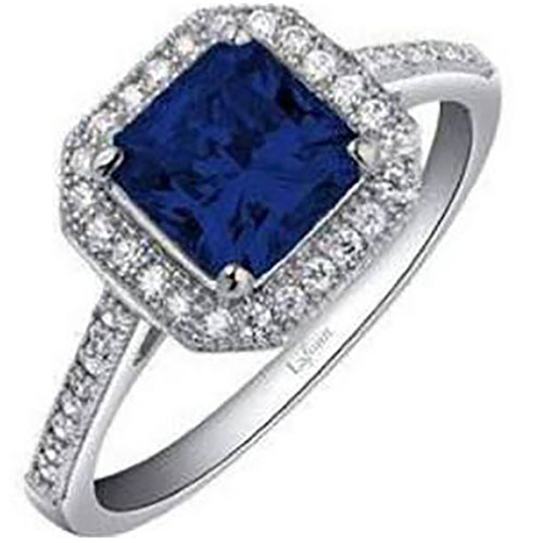 Sterling Silver Created Sapphire Ring with Simulated Diamonds