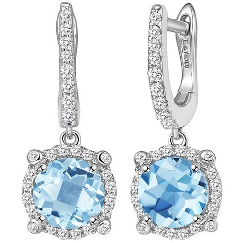Sterling Silver Created Blue Topaz and Simulated Diamond Frame Drop Earrings