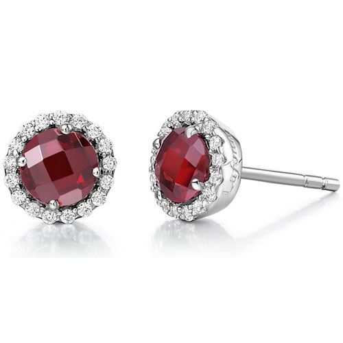 Sterling Silver Garnet and Simulated Diamond Frame Earrings