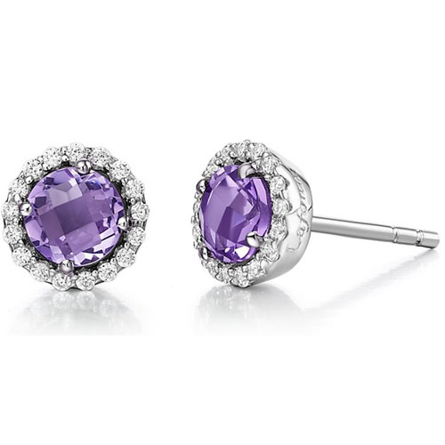 Sterling Silver Amethyst and Simulated Diamond Frame Earrings
