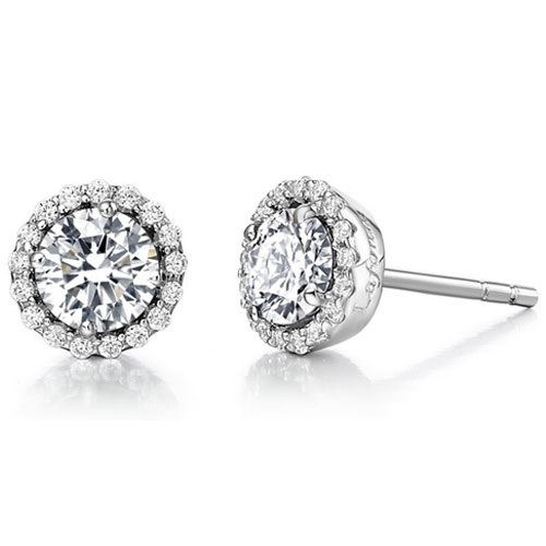Sterling Silver Simulated Diamond Frame Earrings