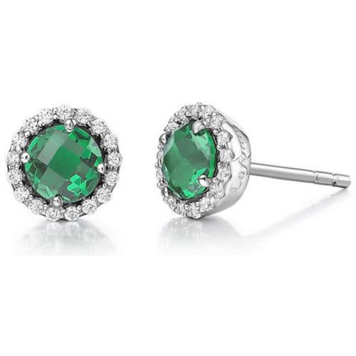 Sterling Silver Simulated Emerald and Simulated Diamond Frame Earrings