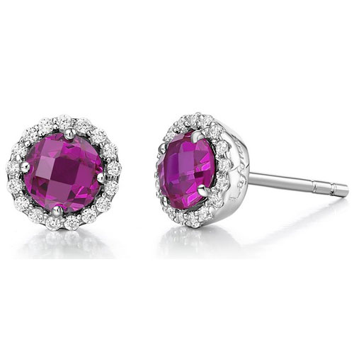 Sterling Silver Created Ruby and Simulated Diamond Frame Earrings