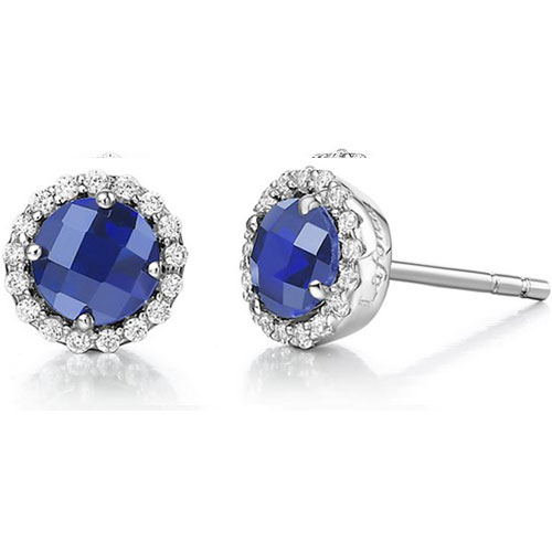 Sterling Silver Created Sapphire and Simulated Diamond Frame Earrings