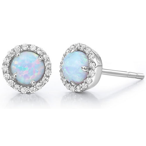 Sterling Silver Created Opal and Simulated Diamond Frame Earrings