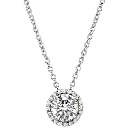 "Sterling Silver Simulated Diamond Frame Pendant, with 18"" Chain"