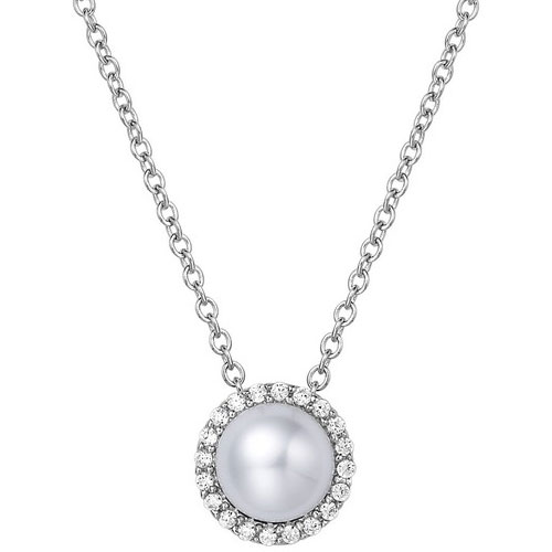 """Sterling Silver Freshwater Pearl and Simulated Diamond Frame Pendant with 18"""" Chain"""