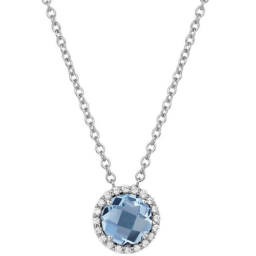 """Sterling Silver Blue Topaz and Simulated Diamond Frame Pendant with 18"""" Chain"""