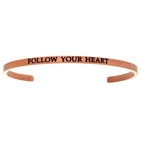 "Intuitions Pink Stainless Steel ""FOLLOW YOUR HEART"" Cuff Bracelet"