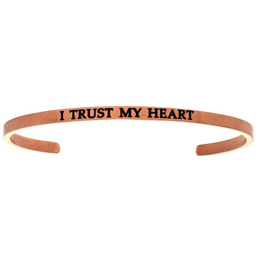 """Intuitions Pink Stainless Steel """"I TRUST MY HEART"""" Cuff Bracelet"""