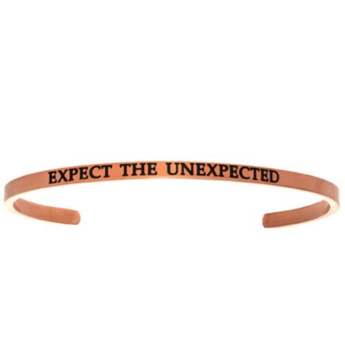 "Intuitions Pink Stainless Steel ""EXPECT THE UNEXPECTED"" Cuff Bracelet"