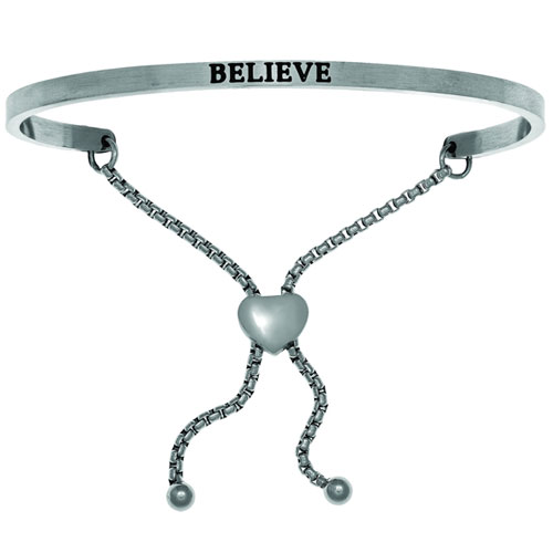 "Intuitions Stainless Steel ""Believe"" Adjustable Bracelet"