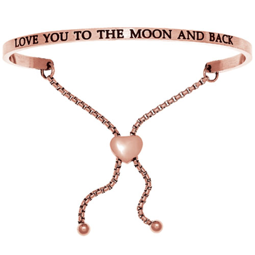 "Intuitions Pink Stainless Steel ""LOVE YOU TO THE MOON AND BACK"" Adjustable Bracelet"