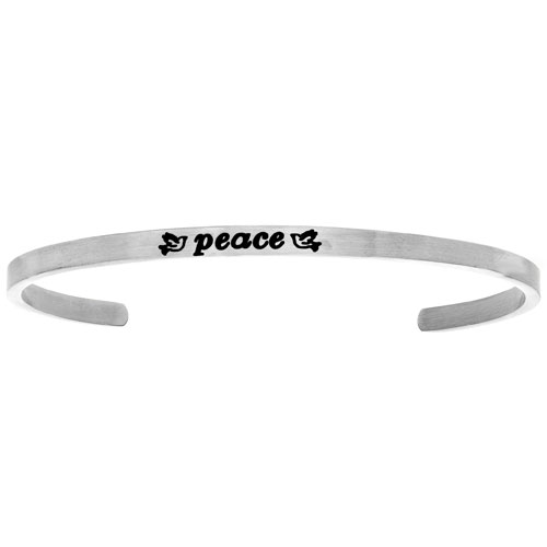 "Intuitions Stainless Steel ""PEACE"" Cuff Bracelet"