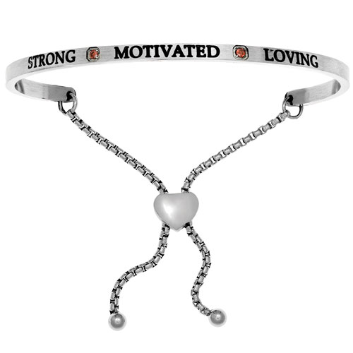 "Intuitions Stainless Steel ""STRONG MOTIVATED LOVING"" January Birthstone Adjustable Bracelet"
