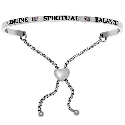 "Intuitions Stainless Steel ""GENUINE SPIRITUAL BALANCED"" February Birthstone Adjustable Bracelet"