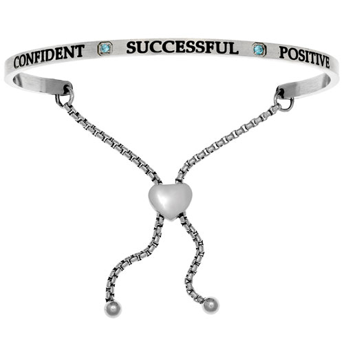 "Intuitions Stainless Steel ""CONFIDENT SUCCESSFUL POSITIVE"" December Birthstone Adjustable Bracelet"
