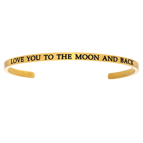"""Yellow Stainless Steel """"LOVE YOU TO THE MOON AND BACK"""" Cuff Bracelet"""