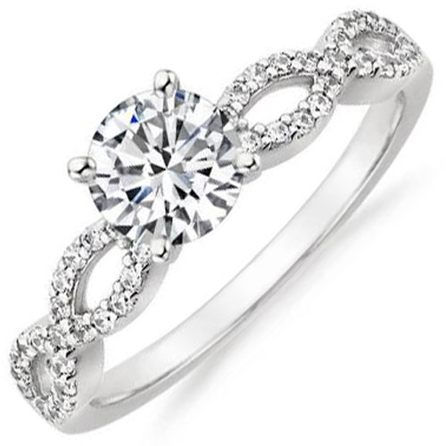 14K White Gold .96 ct tw Diamond Engagement Ring, Center diamond .72 ct F-SI2