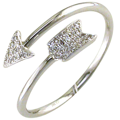 14K White Gold 1/10 ct tw Arrow Ring