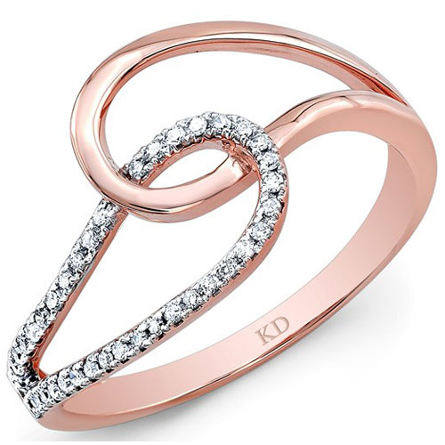 Kattan 14K Rose Gold 1/10 ct tw Diamond Ring
