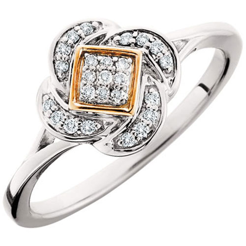 10K White & Rose Gold 1/10 ct tw Diamond Ring