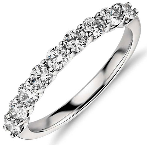 Crown Ring 14K White Gold 1/4 ct tw Diamond Band