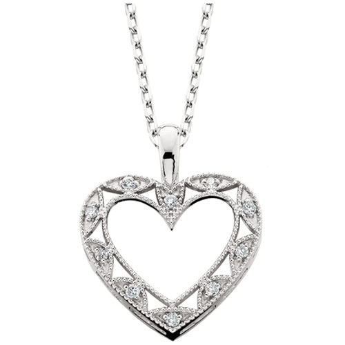 "10K White Gold 1/20 ct tw Diamond Heart Pendant with 18"" Chain"